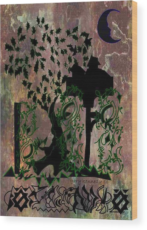 Tree Wood Print featuring the digital art The Birdhouse by Gary Kennedy