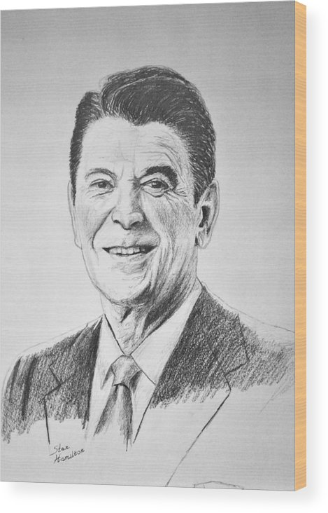 Pencil Wood Print featuring the drawing The Gipper by Stan Hamilton
