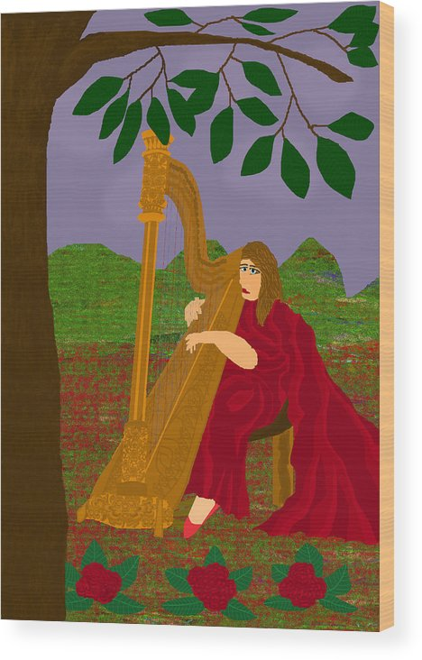 Harpist Wood Print featuring the digital art The Harpist by Funiworks