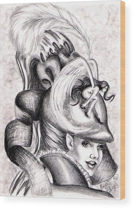 Fantasy Wood Print featuring the drawing The Hat by Scarlett Royal