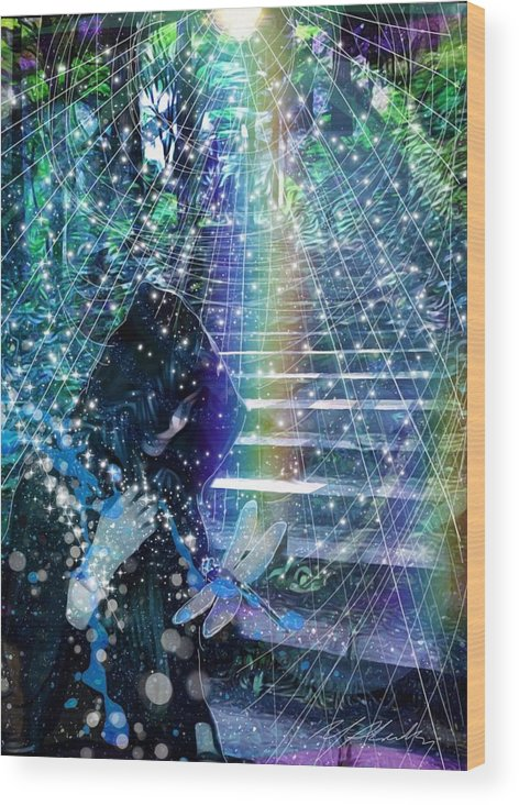 Dragonfly Change Realization Maturity Understanding Meaning Life Rainbow Stairs Stairway Passage Achieve The Goal Bridges Obstacle Enlightenment Light Stars Celtic Animism Druid Druidry Forest Trees Wood Print featuring the mixed media The Kindly Meeting On The Approach Up The Stairway by Michael Richardson