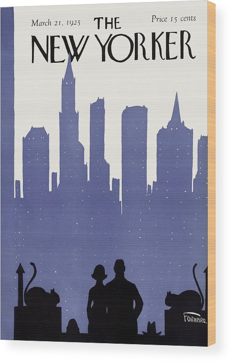 Skyline Wood Print featuring the painting The New Yorker Cover - March 21st, 1925 by Carl Fornaro
