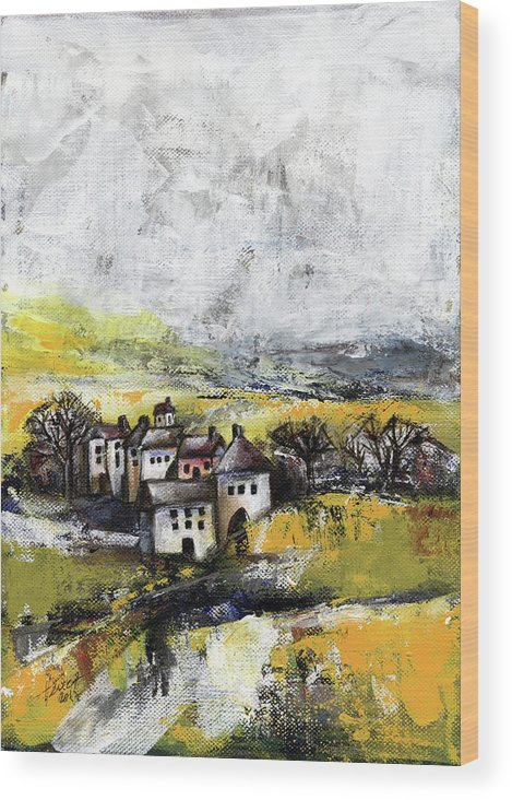 Landscape Wood Print featuring the painting The Pink House by Aniko Hencz