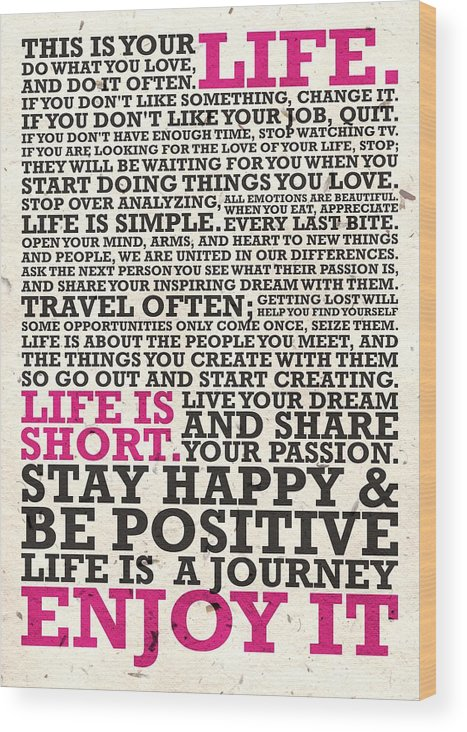 This Is Your Life Do What You Love Inspirational Quotes Poster Wood Best This Is Your Life Quote Poster