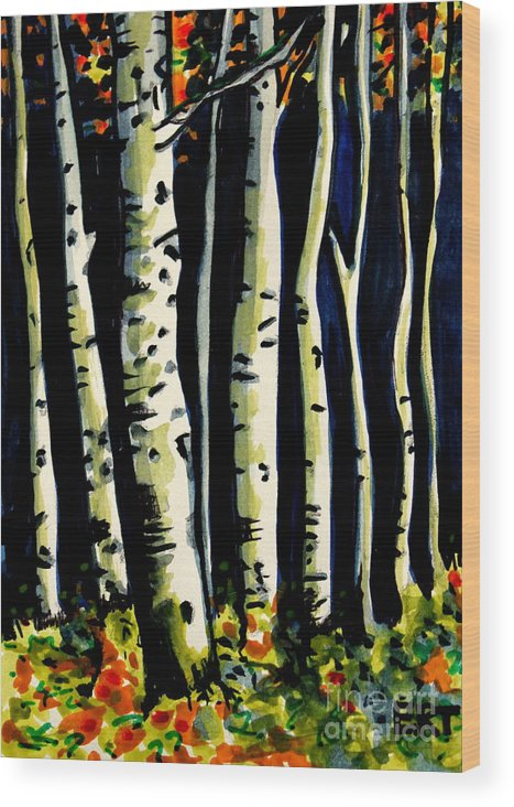Trees Wood Print featuring the painting Through The Midnight Birch Trees by Elizabeth Robinette Tyndall