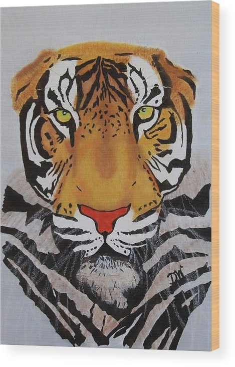 Tiger Wood Print featuring the painting Tiger by Donna Wilson