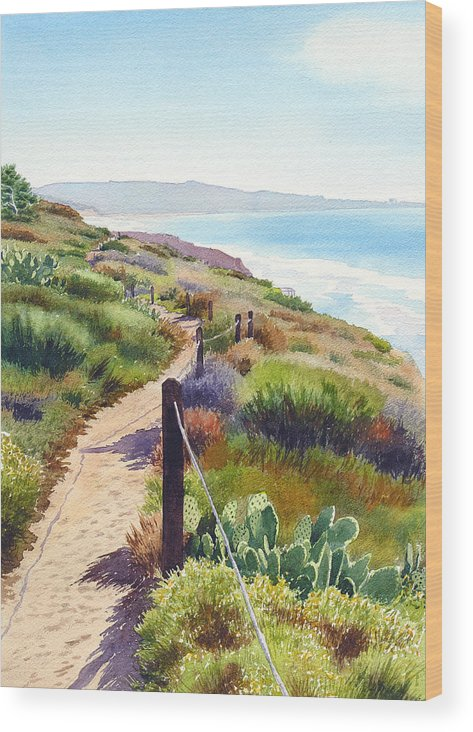 Landscape Wood Print featuring the painting Torrey Pines Guy Fleming Trail by Mary Helmreich