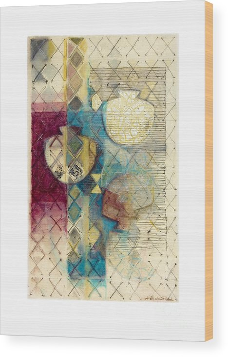 Mixed-media Wood Print featuring the painting Trans Xs No 1 by Kerryn Madsen- Pietsch