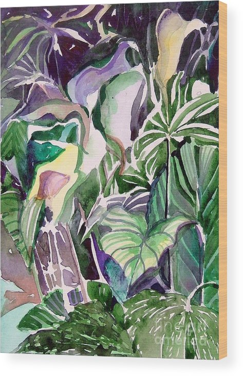 Botanicals Wood Print featuring the painting Tropic Lights by Mindy Newman