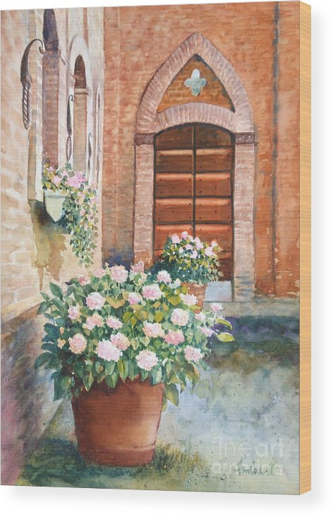 Tuscan Wood Print featuring the painting Tuscan Courtyard by Ann Cockerill