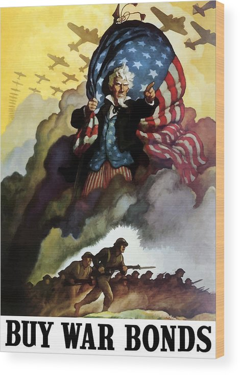 Uncle Sam Wood Print featuring the painting Uncle Sam - Buy War Bonds by War Is Hell Store