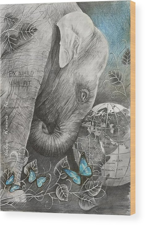 Animals Wood Print featuring the drawing Universe by Julia Kravets