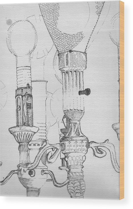 Drawing Wood Print featuring the drawing Victorian Lamp Drawing by Ron Hayes