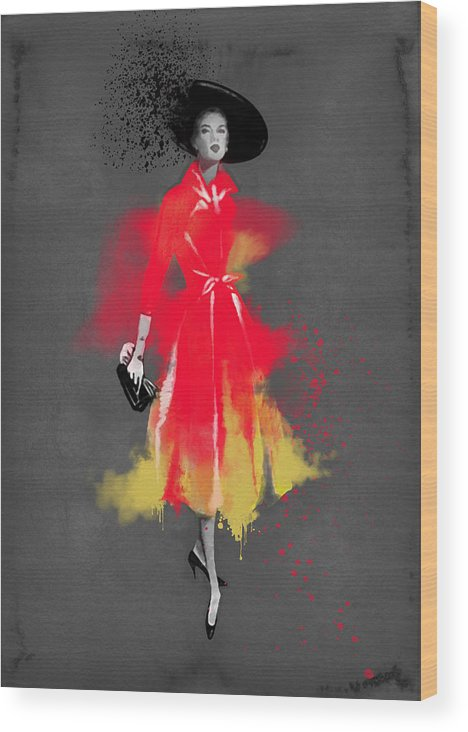 Fashion Art Wood Print featuring the painting Vintage Coat Dress - By Diana Van by Diana Van