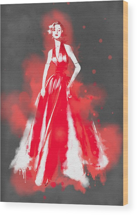 Fashion Art Wood Print featuring the painting Vintage Dress Red Ball Gown - By Diana Van by Diana Van