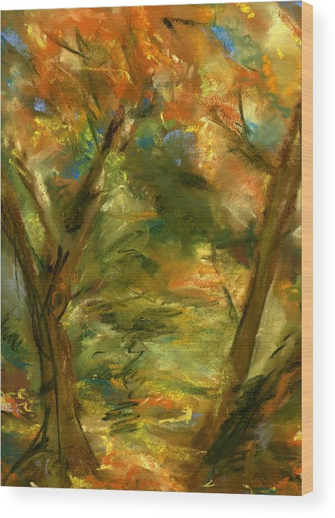 Colorful Wood Print featuring the painting Walk In The Park by Marilyn Barton