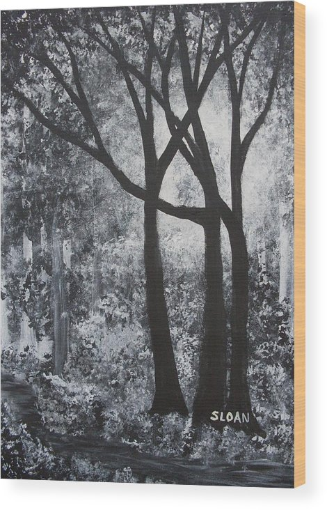 Wood Print featuring the painting Walk In The Woods by Ervin Sloan