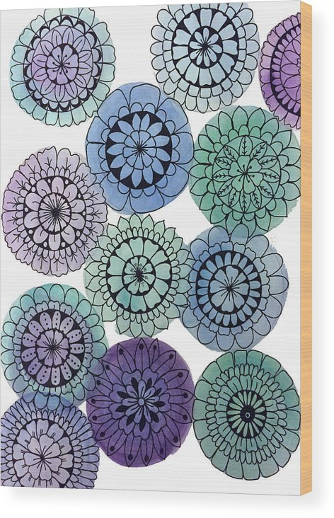 Watercolor Wood Print featuring the painting Watercolor Floral Mandalas by Elizabeth Davis