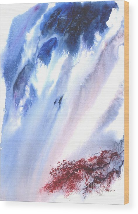 A Waterfall- A Watercolor Painting Wood Print featuring the painting Waterfall by Mui-Joo Wee