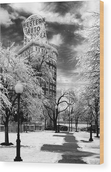 Western Auto Kansas City Wood Print featuring the photograph Western Auto In Winter by Steve Karol