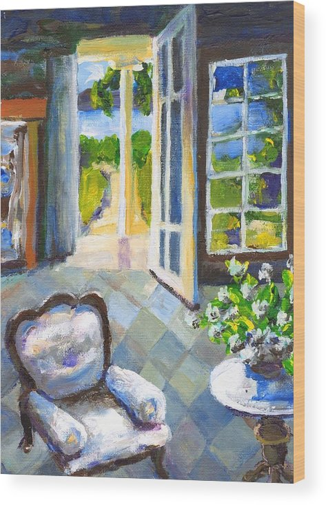 Nantucket Wood Print featuring the painting White Chair Nantucket by Randy Sprout