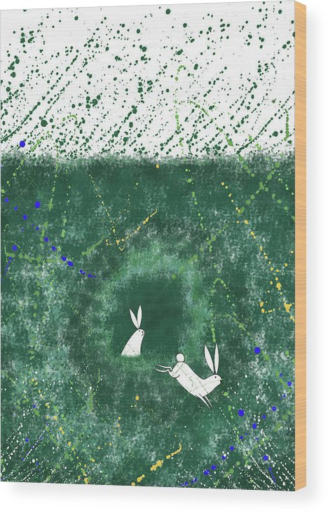 Rabbits Wood Print featuring the mixed media White Rabbits by Andrew Hitchen