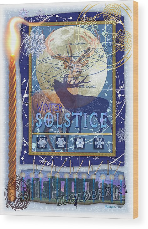 Solstice Wood Print featuring the digital art Winter Solstice by Ernestine Grindal