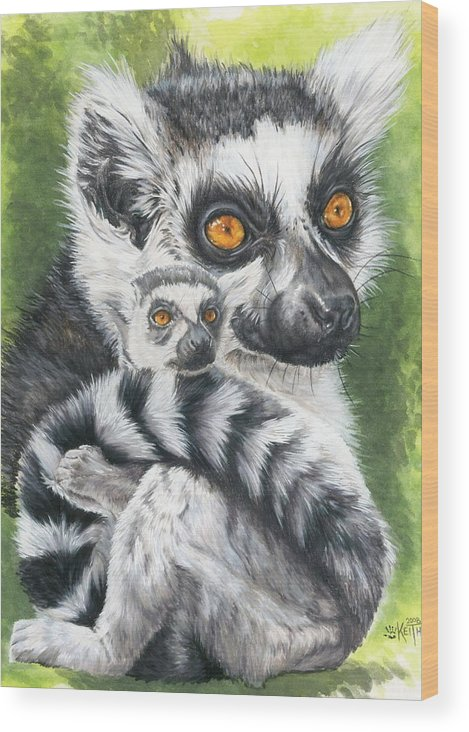 Lemur Wood Print featuring the mixed media Wistful by Barbara Keith