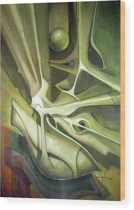 Abstract Wood Print featuring the painting Wl1989dc004 New Dimension Of The Light 26 X 37.6 by Alfredo Da Silva