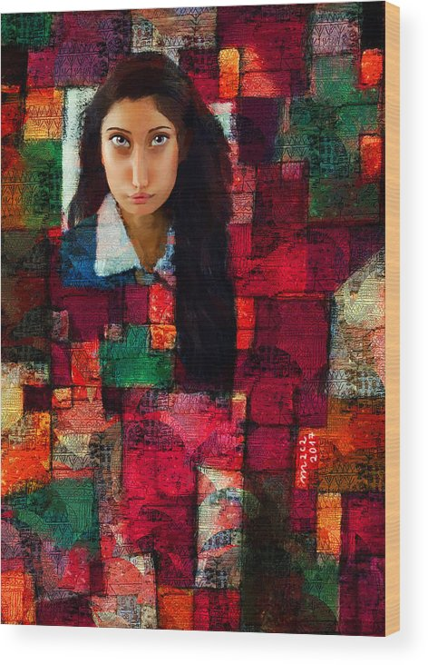 Woman Wood Print featuring the painting Woman In Abstract 454 by Maciej Mackiewicz