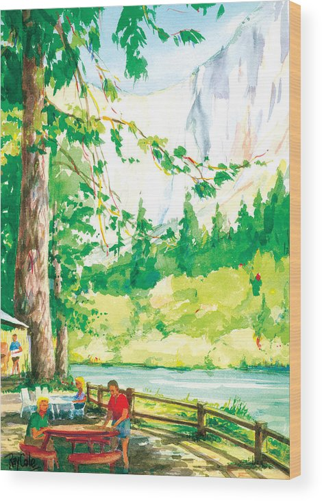 Yosemite Wood Print featuring the painting Yosemite Picnic by Ray Cole