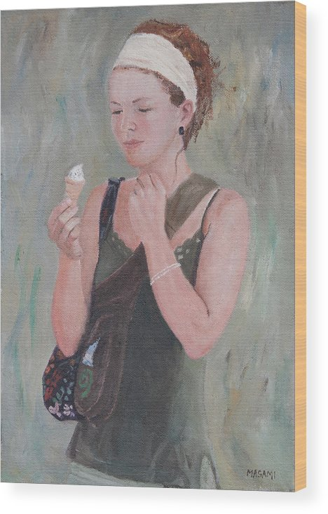 Portrait Wood Print featuring the painting Young Woman And Ice-cream by Masami Iida