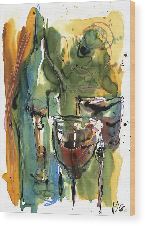 Wine Wood Print featuring the painting Zin-findel by Robert Joyner