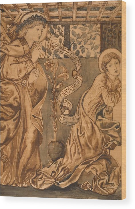 The Annunciation Wood Print featuring the painting The Annunciation by Edward Burne-Jones