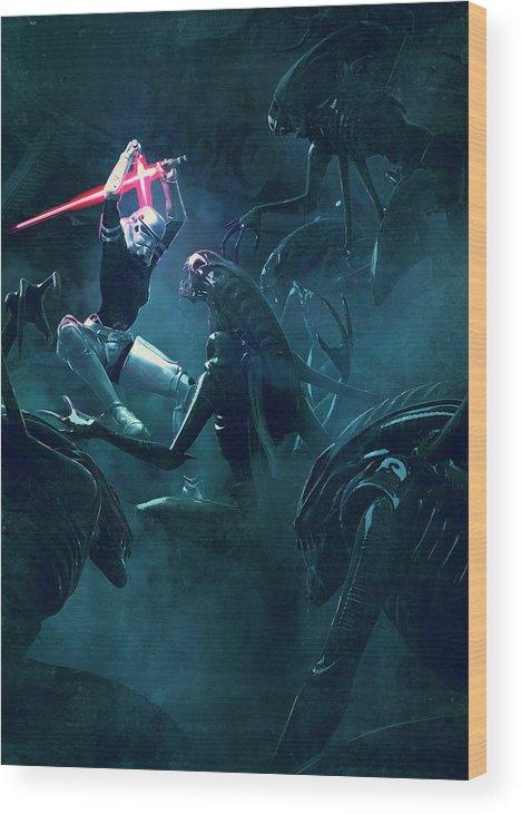 Star Wars Wood Print featuring the digital art 501 Vs Aliens 3 by Guillem H Pongiluppi