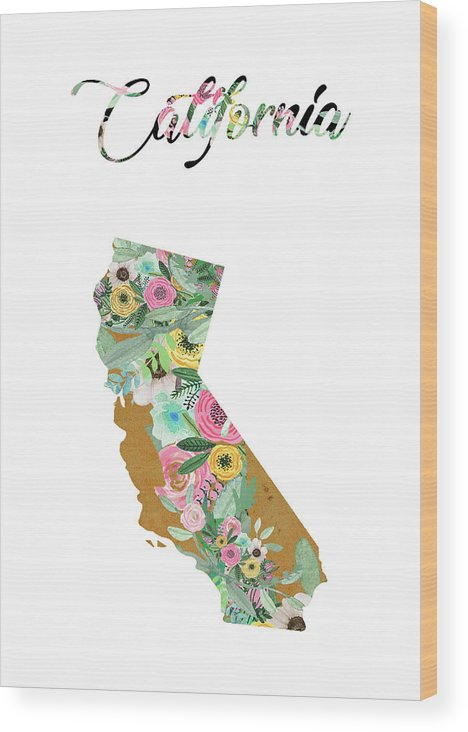 California Collage Wood Print featuring the mixed media California by Claudia Schoen