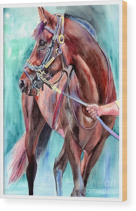 Watercolor Wood Print featuring the painting Classical Horse Portrait by Suzann Sines