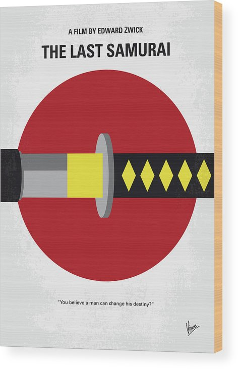 No980 My Last Samurai Minimal Movie Poster Wood Print