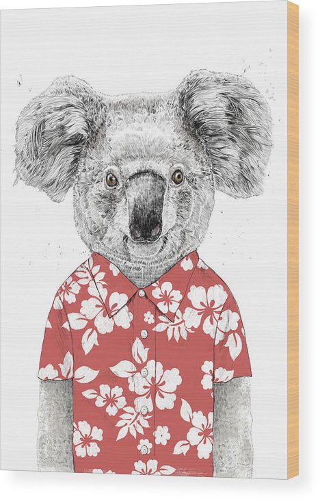Koala Wood Print featuring the drawing Summer Koala by Balazs Solti