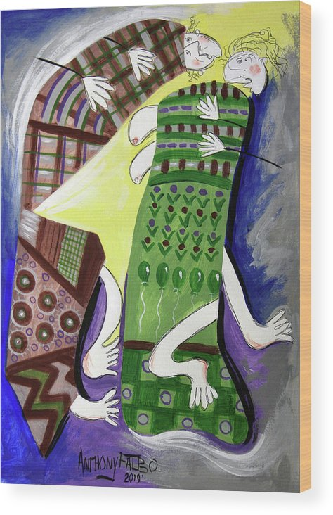 Cubism Wood Print featuring the painting Unexpected Love by Anthony Falbo