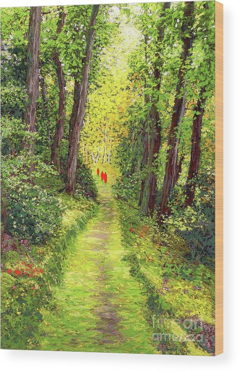 Meditation Wood Print featuring the painting Walking Meditation by Jane Small