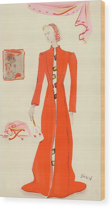 Fashion Wood Print featuring the digital art A Model Wearing A Schiaparelli Military Red Coat by Christian Berard