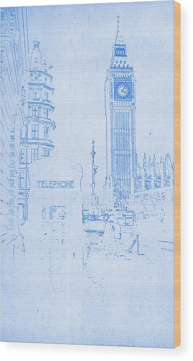 Big ben in london blueprint drawing wood print by motionage designs big ben in london blueprint drawing wood print featuring the digital art big ben in malvernweather Images
