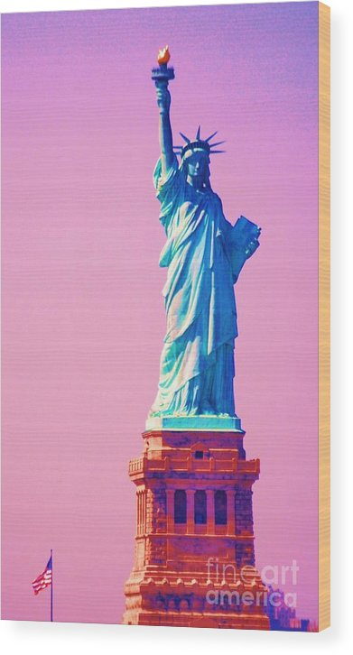 Statue Of Liberty Art New York Iconic Image Surreal Image Travel Tinted For Surrealistic Purposes Americana Gift From France Vertical Lady Liberty Globally Recognized Statue Sculpture Patriotism Metal Frame Highly Recommended Canvas Print Poster Print Available On Greeting Cards 4th Of July Party Invitation Card T Shirts Tote Bags Shower Curtains Mugs Beach Towels And Phone Cases Wood Print featuring the photograph Celebrating Lady Liberty # 3 by Marcus Dagan