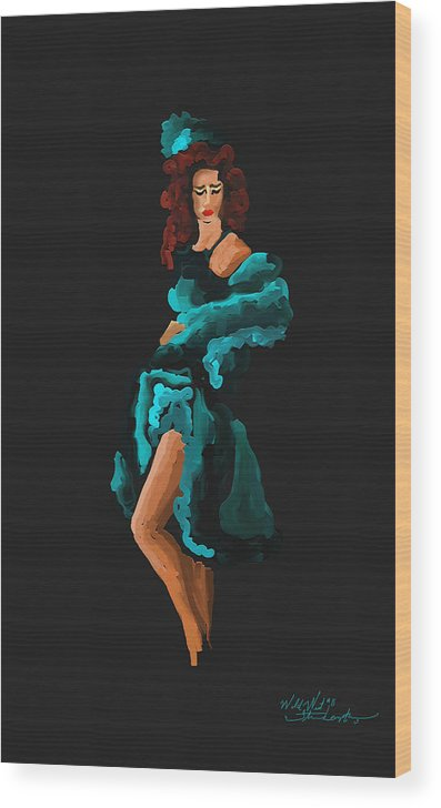 West Wood Print featuring the painting Dance Hall Gal by Steven Lebron Langston