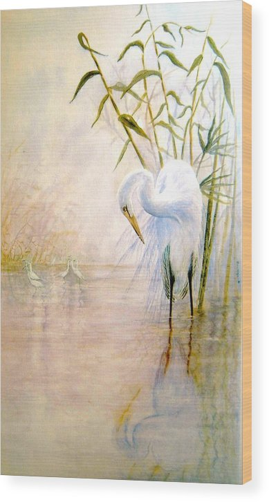 Eret; Bird; Low Country Wood Print featuring the painting Egret by Ben Kiger