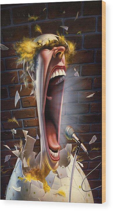 Bird Wood Print featuring the painting Leonard J. Waxdeck's 25th Annual Bird Calling Contest by Mark Fredrickson