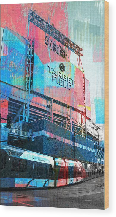 Wood Print featuring the digital art Metro Transit And Target Field by Susan Stone