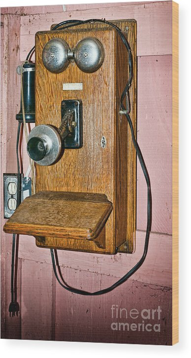 Antique Wood Print featuring the photograph Old Wall Telephone by Les Palenik