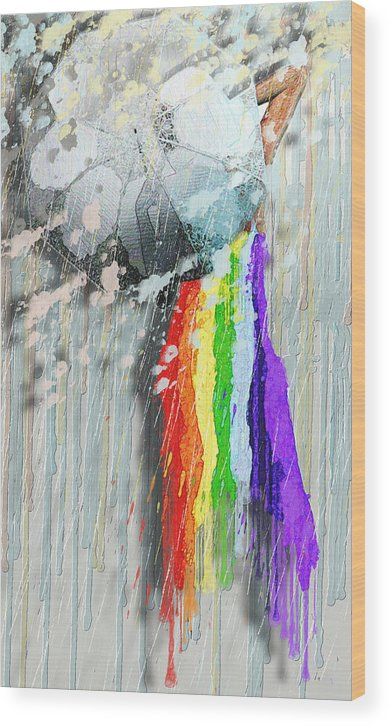 Rainbow Wood Print featuring the painting Rainbow by Luana-Beatrice Lazar